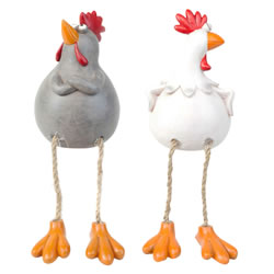 Small Image of Susan & Walter the Dangly Leg Edge-Sitting Chicken Ornaments