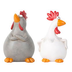 Small Image of Cheryl & Colin the 18cm Chicken Figurine Home Ornament Set