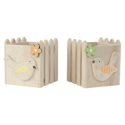 Small Image of Set of 2 Wooden Picket Fence Spring Bird Tealight Holders