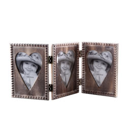 Small Image of Wooden Folding Hinged Triple Heart Picture Frame Home Decoration