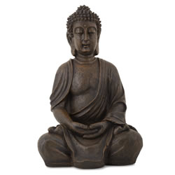 Small Image of Detailed Stone Look Resin Buddha Statue Ornament for Home or Garden