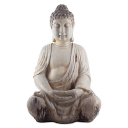 Small Image of Large 50cm Sitting Driftwood Effect Resin Buddha Ornament