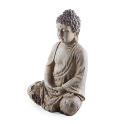 Small Image of Sitting Driftwood Effect Resin Buddha Ornament