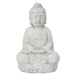 Small Image of 29cm Grey Terracotta Sitting Buddha Statue Garden Sculpture Ornament