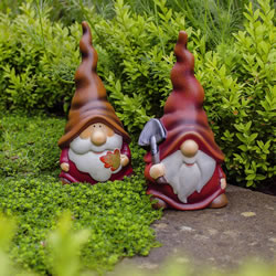 Small Image of Austin & Basil the Autumnal Terracotta Garden Gnome Ornaments