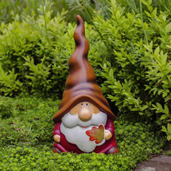 Small Image of Austin the Autumnal Terracotta Garden Gnome Ornament with Leaf