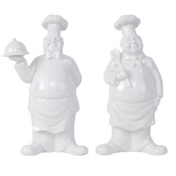 Small Image of Rémy & Frank the 20cm White Porcelain Fat Chef Kitchen Figurine Ornament Set