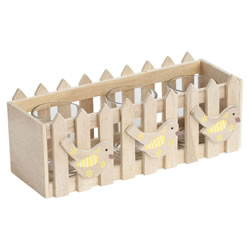 Small Image of Wooden Picket Fence Yellow Spring Bird Triple Tealight Holder