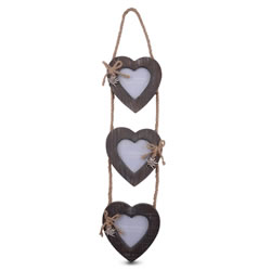 Small Image of Triple Wooden Heart Photo Frame on Jute Rope Hanger
