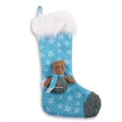 Small Image of Blue Snowflake Fabric Christmas Stocking with Bear