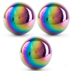 Small Image of 3 x Multi-coloured Petrol Effect 18cm Stainless Steel Garden Gazing Ball Mirror Sphere Ornaments