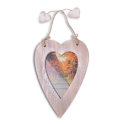 Small Image of Single Hanging Brown Heart Photo Frame with Jute Hanger