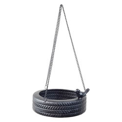 Small Image of Hanging Black Metal Horizontal Tyre Swing Garden Bird Feeder