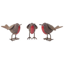 Small Image of Set of 3 Rusty Tin Metal Robin Bird Garden or Home Ornaments