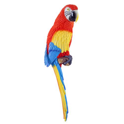 Small Image of Kiwi the Wall Mountable 45cm Scarlet Macaw Parrot Garden Ornament