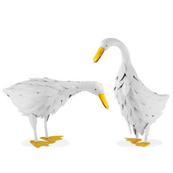Small Image of Philip and Pamela the Rustic Metal Free-standing Geese Garden Bird Figurine Ornaments