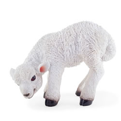Small Image of Knit the Realistic Resin Standing White Lamb Garden Ornament