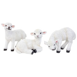 Small Image of Set of 3 Realistic White Lamb Sheep Animal Garden Ornaments - Standing, Laying & Grazing