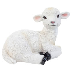 Small Image of Realistic 18cm Laying White Lamb Sheep Animal Garden Ornament