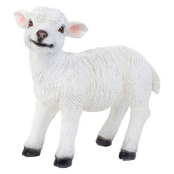Small Image of Realistic 23cm Standing White Lamb Sheep Animal Garden Ornament