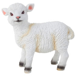 Small Image of Realistic Small 14cm Standing White Lamb Sheep Animal Garden Ornament