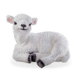 Small Image of Purl the Realistic Resin Large Laying White Lamb Garden Ornament