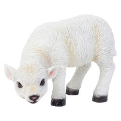 Small Image of Realistic 23cm Grazing White Lamb Sheep Animal Garden Ornament