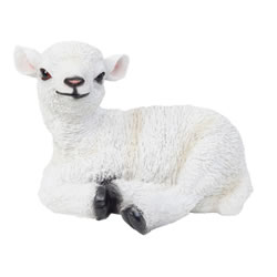 Small Image of Realistic 23cm Laying White Lamb Sheep Animal Garden Ornament