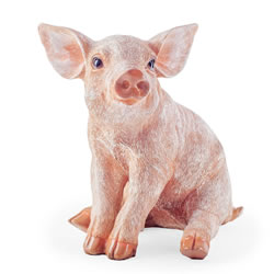 Small Image of Bailey the Realistic Resin Sitting Pig Garden Ornament