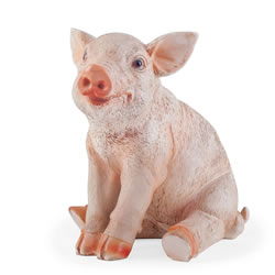 Small Image of Poppy the Realistic Resin Sitting Pig Garden Ornament Figurine
