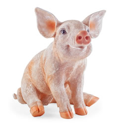 Small Image of Petunia the Large Realistic Resin Sitting Pig Garden Ornament