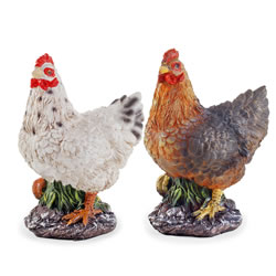 Small Image of Rosemary & Thyme the Realistic Resin Standing White & Brown Hen/Chicken Garden Ornament Pair