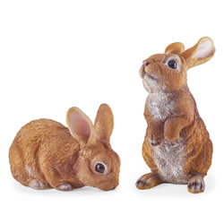 Small Image of Cleo & Clyde the Pair of Realistic Resin Rabbit Garden Ornaments