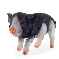 Small Image of Realistic Black Piglet Resin Garden Ornament