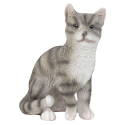 Small Image of Realistic Small 12cm Sitting Grey Tabby Cat Polyresin Ornament Figurine