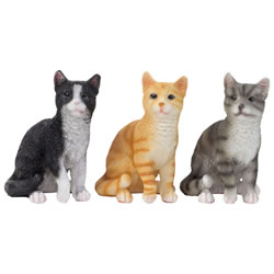 Small Image of Set of 3 Realistic Small 12cm Sitting Cat Ornament Figurines - Black, Grey & Ginger