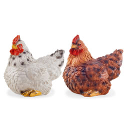 Small Image of Mint & Saffron the Realistic Resin White & Brown Hen Ornaments