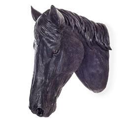 Small Image of Large Wall Mountable Realistic Jet Black Stallion Horse Head Garden Feature Ornament