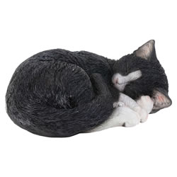 Small Image of Realistic Sleeping Black Cat Kitten Garden Ornament