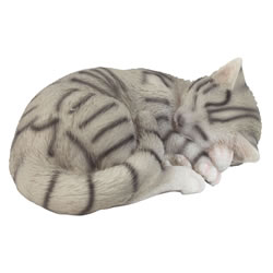 Small Image of Realistic Sleeping Grey Tabby Cat Kitten Garden Ornament