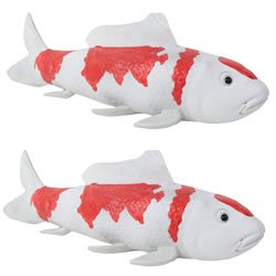 Small Image of Set of 2 Large Red & White Koi Carp Fish Garden Ornament