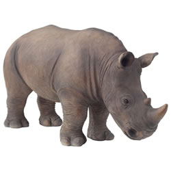 Small Image of Large Realistic Life-like Standing Rhino Polyresin Garden Ornament