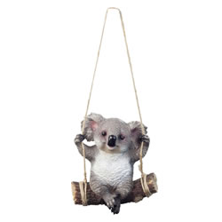 Small Image of Grey Koala Bear on Swing Polyresin Hanging Garden Ornament