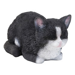 Small Image of Realistic Life-size Resting Black Cat Kitten Garden Ornament