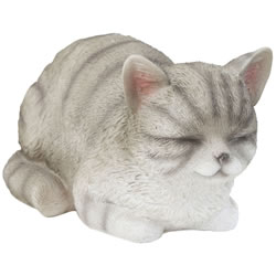 Small Image of Realistic Life-size Resting Grey Tabby Cat Kitten Garden Ornament