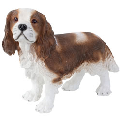 Small Image of Realistic 30cm Standing King Charles Spaniel Dog Statue Garden Ornament