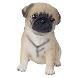 Small Image of Realistic 15cm Sitting Brown Pug Puppy Dog Statue Ornament