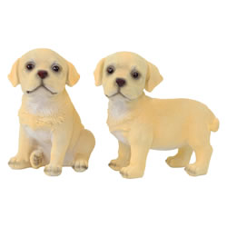 Small Image of Set of 2 Realistic 16cm Yellow Labrador Puppy Dog Statue Ornaments
