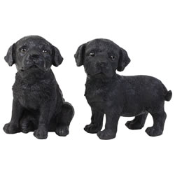 Small Image of Set of 2 Realistic 16cm Black Labrador Puppy Dog Statue Ornaments