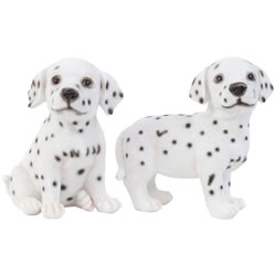 Small Image of Set of 2 Realistic 16cm Dalmatian Puppy Dog Statue Ornaments